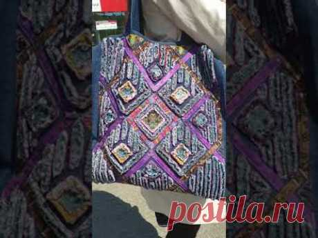 Джинсовая сумочка в технике синель.