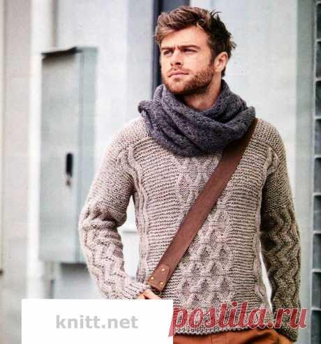 Вязание шарфа и мужского пуловера с ромбами.