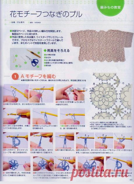 Японские летние гипюры крючком, три модели одним узором с фото мастер-классом по вязанию. | pro100stil | Яндекс Дзен