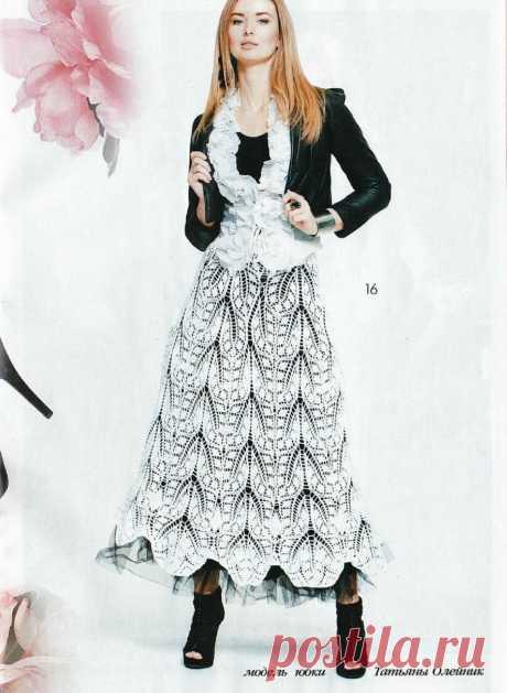Шикарная ажурная юбка спицами