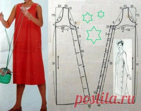 Летнее платье своими руками: Несложные выкройки для начинающих - просто подставьте свои мерки | Швейный омут | Яндекс Дзен