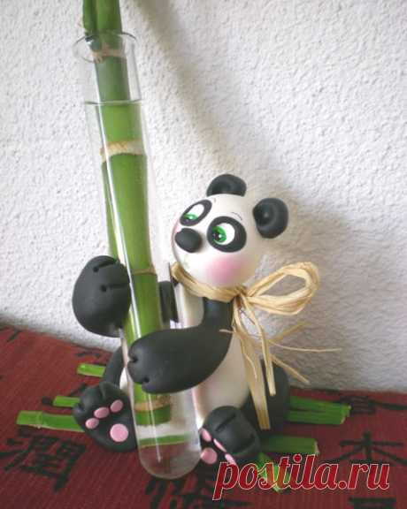 Gallery.ru / Фото #2 - Панда из холодного фарфора. Декоративная подставка для комна - Vladikana