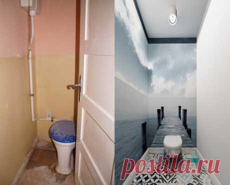 Идея ремонта туалета: фото «до» и «после»  Раньше этот туалет представлял собой жалкое зрелище — маленький, узкий и грязный. Дизайнеры удлинили комнату и сумели найти стильное сочетание всевозможных приемов: серо-голубая цветовая гамма, пол у…