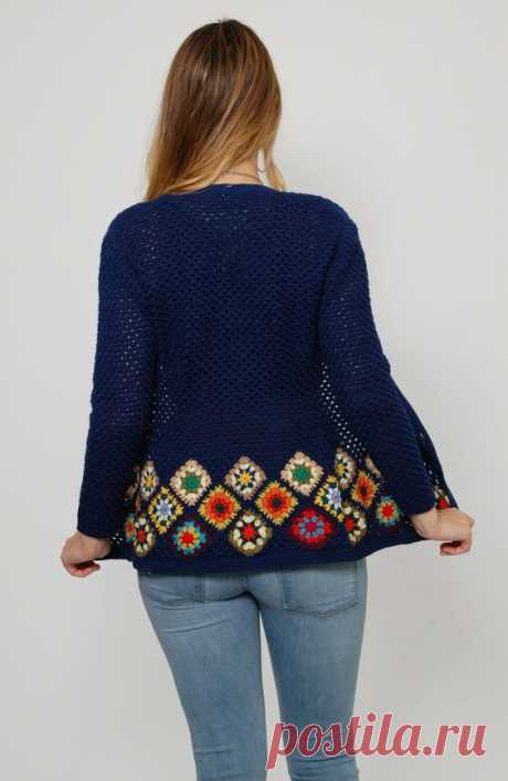 Vintage 70s GRANNY SQUARE Sweater Blue Knit Sweater Hippie Sweater RAINBOW Knit Cardigan Open Knit Jumper Boho Layering Piece