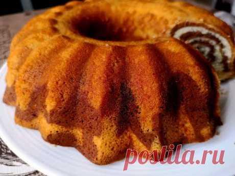 Пирог (Кекс)  Зебра на Кефире.Полосатый пирог.|Zebra Cake Recipe. - YouTube