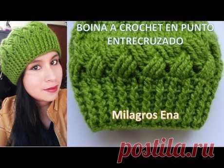 Boina a crochet en punto Entrecruzado paso a paso con indicaciones para diferentes edades