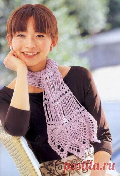 Красивый ажурный шарф крючком. Схема вязания