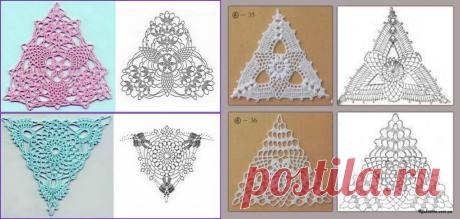 Большая подборка треугольных, квадратных и шестиугольных мотивов с образцами для вязания крючком | МНЕ ИНТЕРЕСНО | Яндекс Дзен
