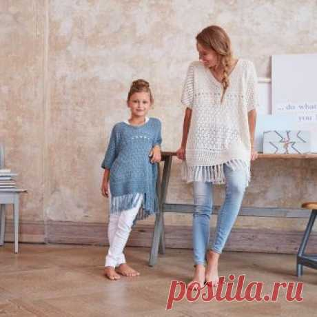 Пуловер с бахромой для мамы и дочки