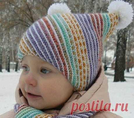 Детская шапочка и шарфик «По диагонали» (Вязание спицами) | Журнал Вдохновение Рукодельницы