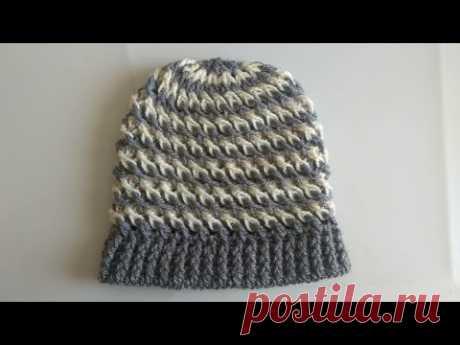 Gorro para hombre a crochet en 3D (punto diagonal cruzado) c75aa6fba3d