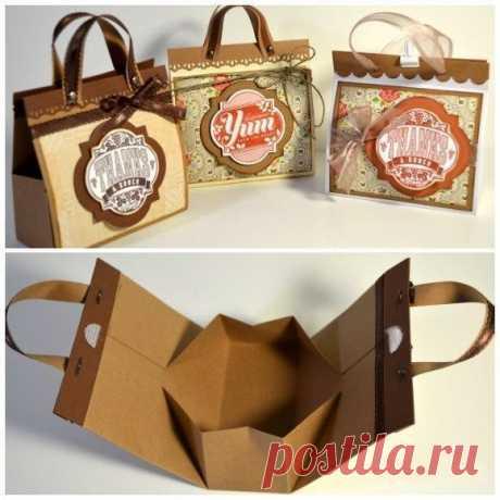 Мини-сумочка — идея для подарочной упаковки своими руками!