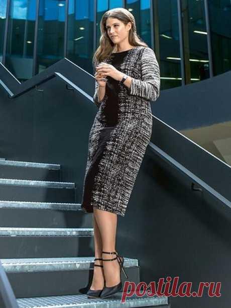 Sheath dress for full - the V pattern No. 132 from the magazine 9\/2015 Burda – patterns of dresses on Burdastyle.ru