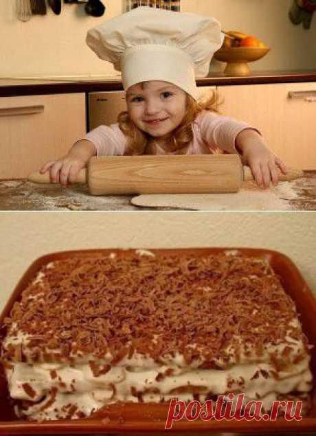 Торт из печенья с бананом на скорую руку | Готовим вместе