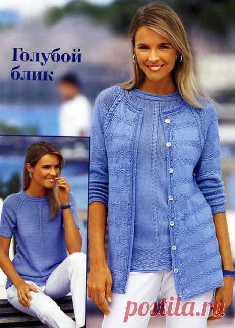 """Двойка-реглан спицами: пуловер и жакет """"Голубой блик"""" (и для статных дам)"""