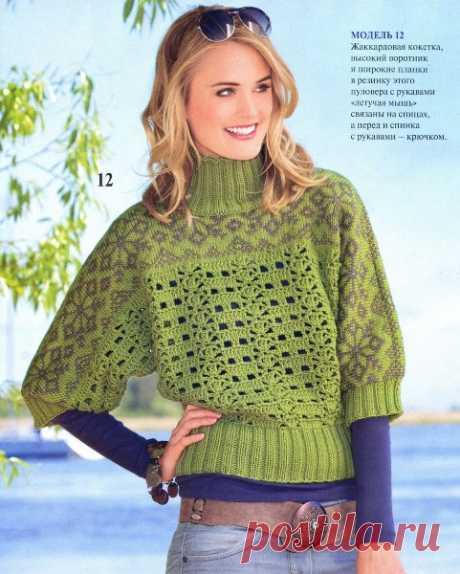 Пуловер с рукавами «Летучая мышь» | Knitting-cluB  Вязание для Вас спицами и крючкомKnitting-cluB  Вязание для Вас спицами и крючком