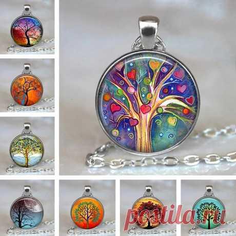 Vintage geometric round tree of life gemstone pendant necklace metal colorful glass printed jewelry unisex Sale - Banggood.com