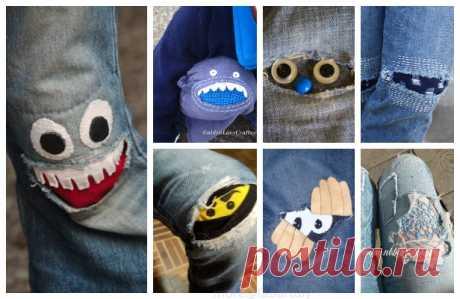 Веселые заплатки на джинсах