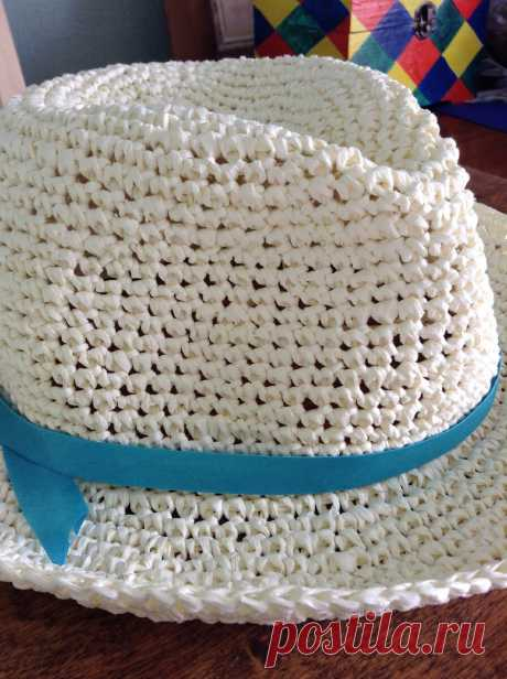 Шляпа-федора из рафии крючком | SIBKNITTING | Яндекс Дзен