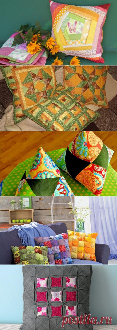Лоскутное разнообразие, радующее глаз - декоративные подушки в технике пэчворк