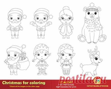 Рождество для раскраски Симпатичные рождественские цифровые   Etsy