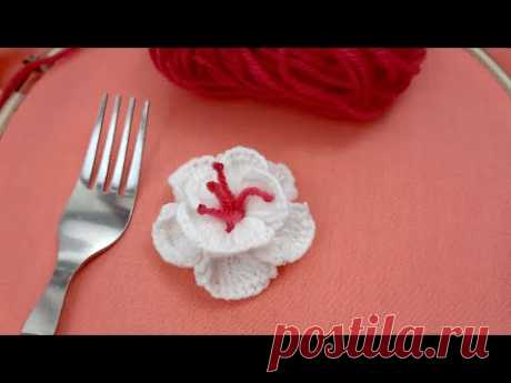 Hand Embroidery Amazing Trick, Easy Rose Flower Embroidery Trick with Fork#02