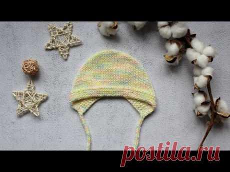 Чепчик для новорождённого/ шапка спицами/ чепчик с круглой макушкой