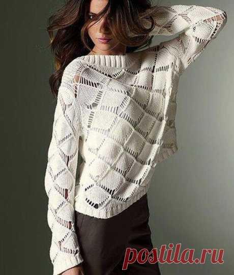 Пуловер с крупными ромбами, схема узора
