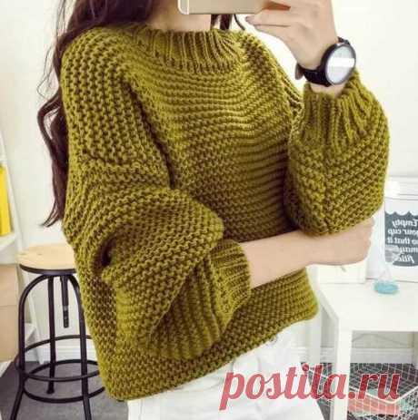 Объемный свитер платочной вязкой своими руками. Модный свитер платочной вязкой | Тысяча и одна идея