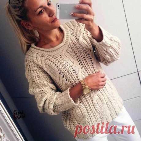 Вязаный пуловер. Подборка схем Пуловер связан из толстой пряжи .Основной узор английская резинка:  Наберите на спицах нечетное количес