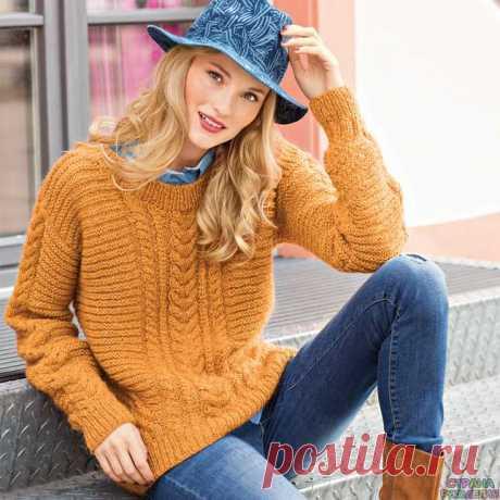 Джемпер с вертикальными «косами» и поперечной резинкой - Жакеты,Пуловеры, свитера - Вязание спицами - Рукоделие