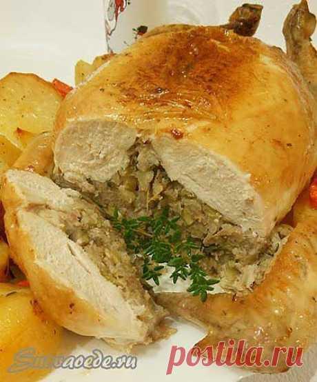 Праздничная фаршированная курица без костей