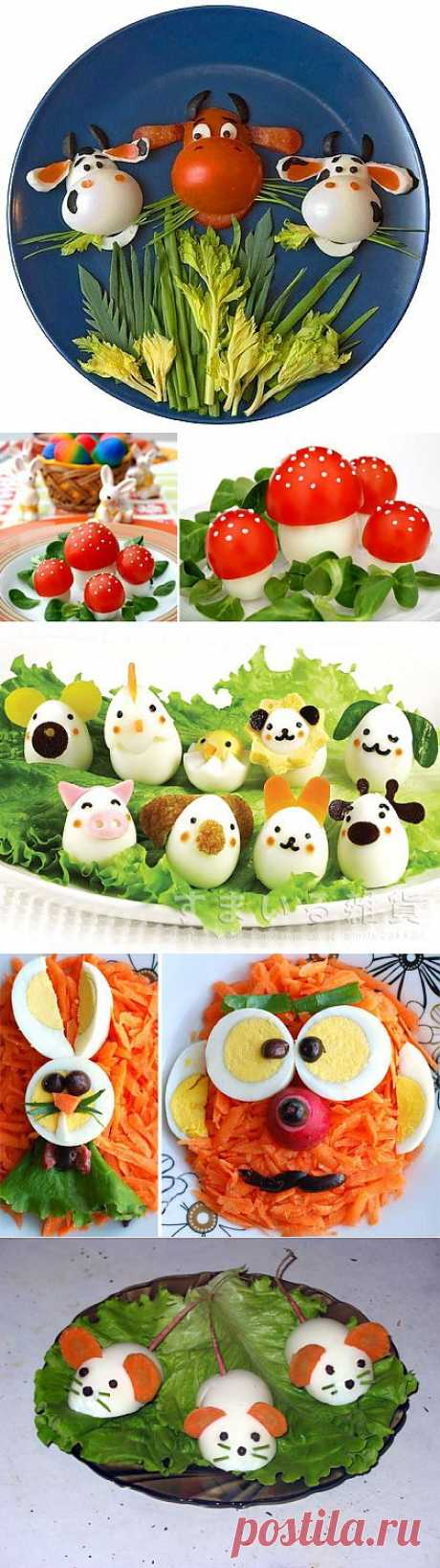 Интересные идеи,как украсить блюда с помощью яиц.