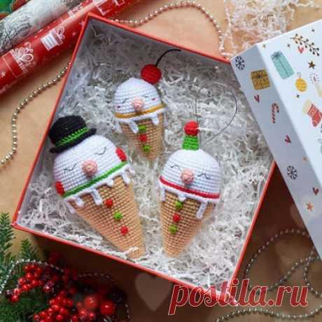 1000 схем амигуруми на русском: Мороженки-снеговички