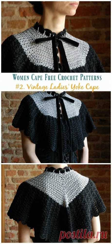 Vintage Ladies 'Yoke Cape Вязание крючком Free Pattern - Женская одежда #Cape;  Бесплатный # Вязание крючком;  Узоры