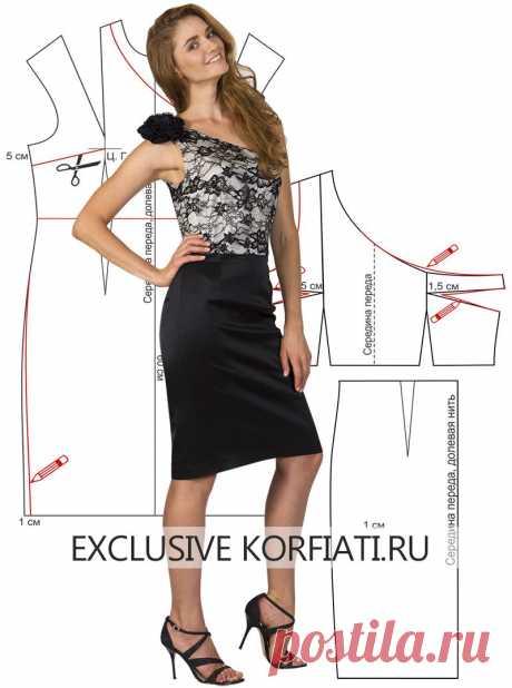 Выкройка платья с прямой юбкой от Анастасии Корфиати Выкройка платья с прямой юбкой. Платье из кружева и атласа - настоящий гимн высокому стилю. Выкройка очень просто моделируется, платье шьется за один день!