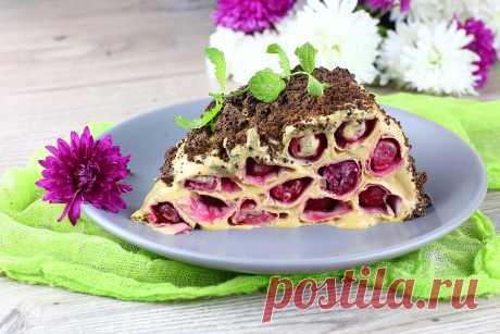 Торт без выпечки из лаваша с вишней   Простые рецепты с фото