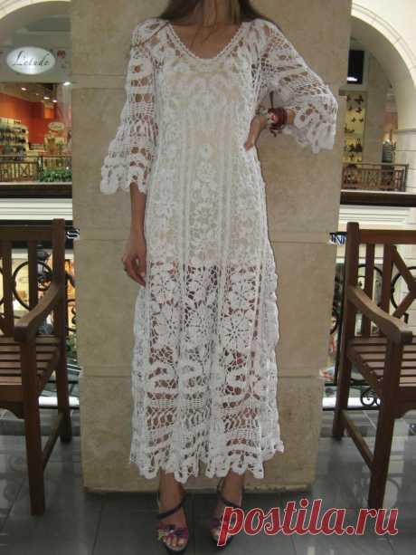 crochet-maxi-dress-handmade-white-dress-wedding-dress-crochet-white-dress-irish-lace-dress-summer-cotton-dress-crochet-wedding-garment.jpg (900×1200)