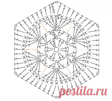 Схемы крупных шестигранных мотивов для пледов, палантинов, мини-салфеток крючком.   #узоры_вязание #крючком #узоры #вязание