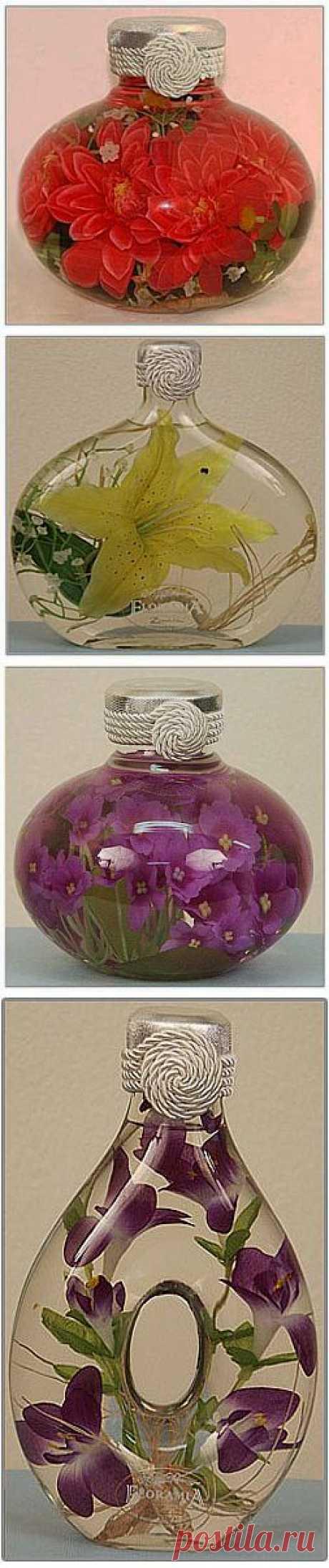 Удивительный рецепт! Цветы в глицерине,желатине и соли..