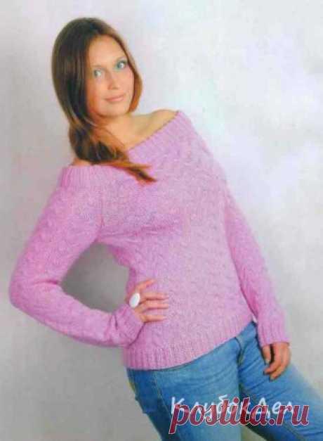 Пуловер спицами «Розовое суфле». Вязаный пуловер для женщин, схемы и описание вязания на спицах