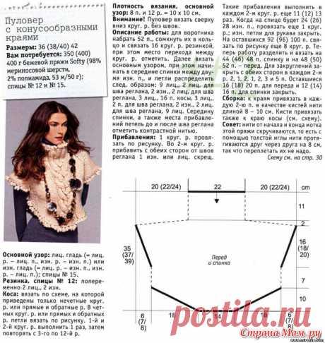 МК по вязанию спицами женского пуловера с конусообразными краями крупной вязки с подробным описанием и схемой