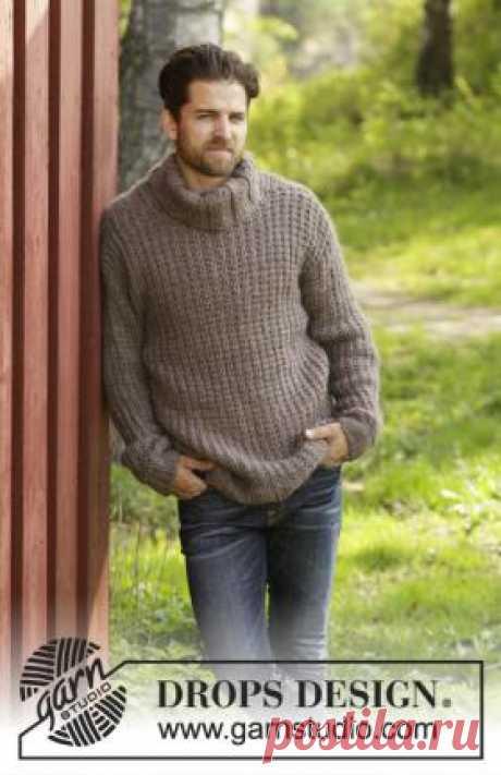 Джемпер Сильвервуд Теплый и свободный джемпер спицами для мужчин, связанный из толстой шерстяной пряжи ровничного типа. Для вязания данной модели используется теневой...