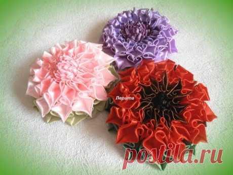 """Kanzashi, como hacer las flores hermosas de las cintas, el pétalo """"завиток"""" MK"""