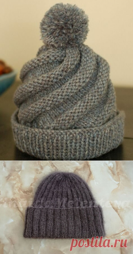 1000 идей для вязания спицами: Шапки резинкой. Они такие разные .