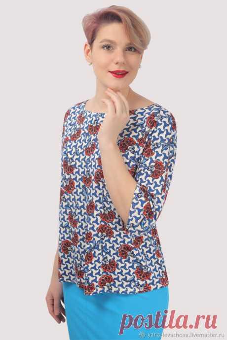 Блузка трикотажная вискоза голубая белая летняя – купить на Ярмарке Мастеров – LY1KYRU | Блузки, Москва