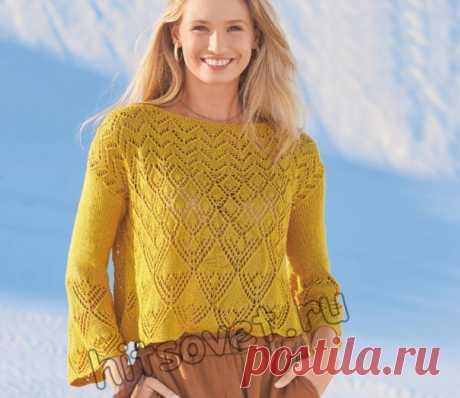 Красивый летний ажурный пуловер #спицы #вязаный_джемпер #вязаный_узор #узор_спицами  Вязание спицами красивого летнего ажурного пуловера со схемами и пошаговым бесплатным описанием.  Размеры пуловера: 34-36 (42-44).  Вам потребуется: 300 (350) грамм цвета карри пряжи, состоящей из 90% вискозы, 10% шелка; длиной нити 140 метров в 50 граммах; спицы № 3; круговые спицы № 3.  Узор 1: платочная вязка = лицевые и изнаночные ряды – лицевые петли. Круговые ряды: попеременно 1 круг...