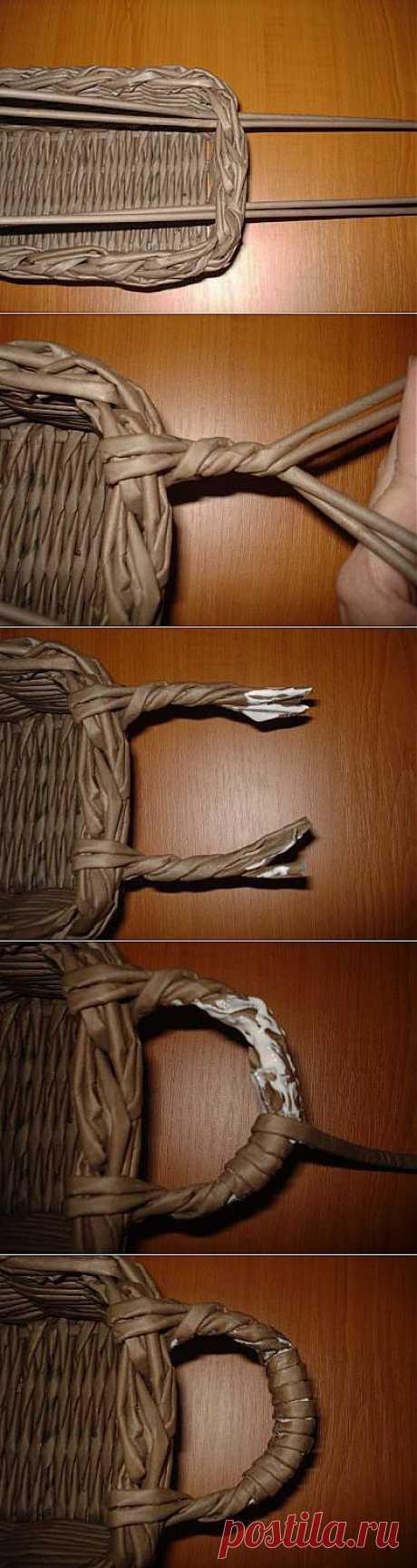 Плетение ручки для корзины