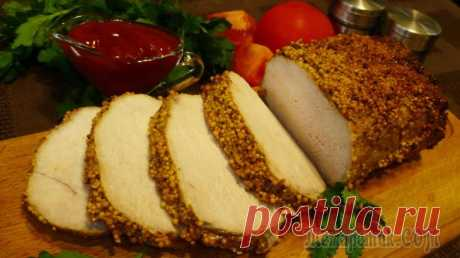 Pork the Pork baked in mustard in an oven INGREDIENTS - 1 kg. Mustard French - 3 tablespoons. Mustard table - 1 h l. Vegetable oil - 2 tablespoons. A paprika - 1 h l. Garlic - 4 zubchikasol - 0,5 h l. Pepper - 0,5 h l. AS PRIGOTOVITVNACHA...