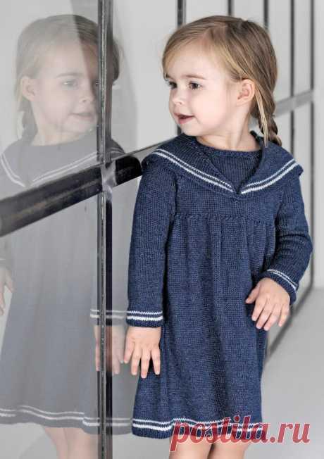 Платье в морском стиле для девочки спицами - Портал рукоделия и моды